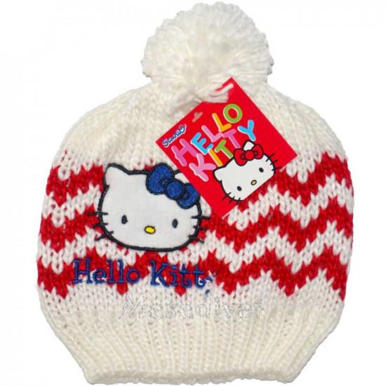 Hello Kitty kötött sapka bojttal