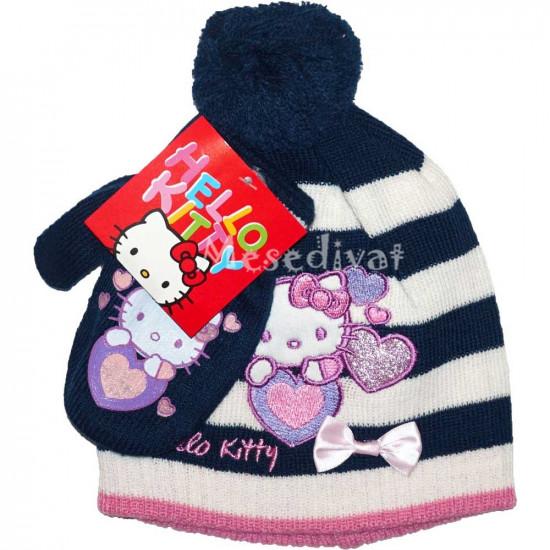 Hello Kittys bébi sapka kesztyűvel sötétkék
