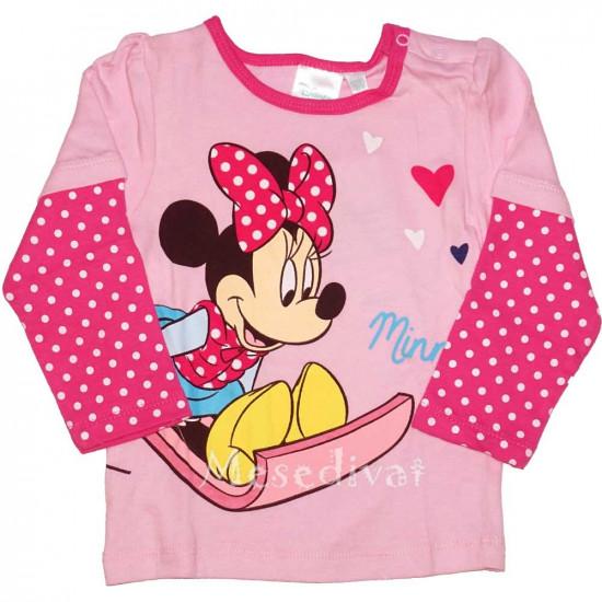 Minnie Egeres bébi hosszúujjú póló rózsaszín