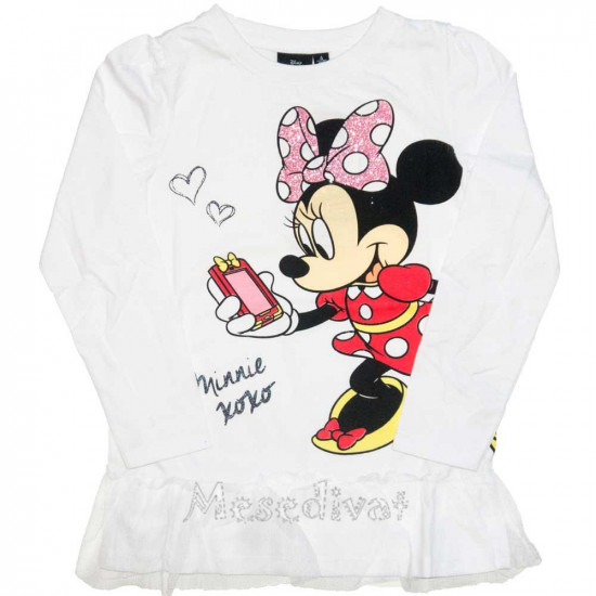Minnie Egeres fehér hosszúujjú póló tüllel díszítve