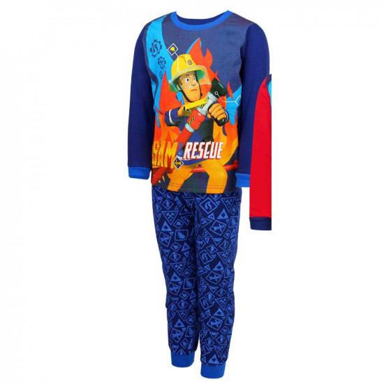 Sam a tűzoltó pamut pizsama kisfiúknak sötétkék