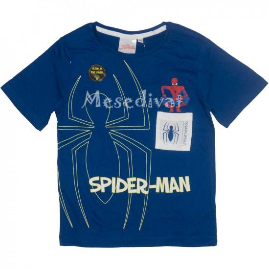 Pókemberes sötétben világító póló kék