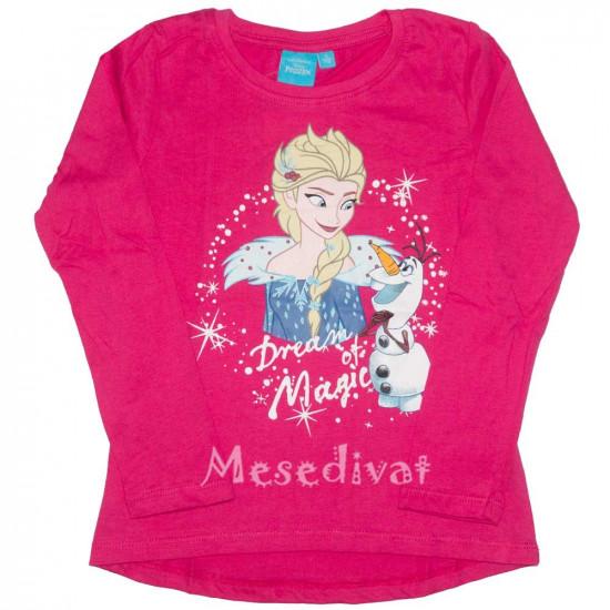 Jégvarázs hosszúujjú póló Elsa Olaf pink