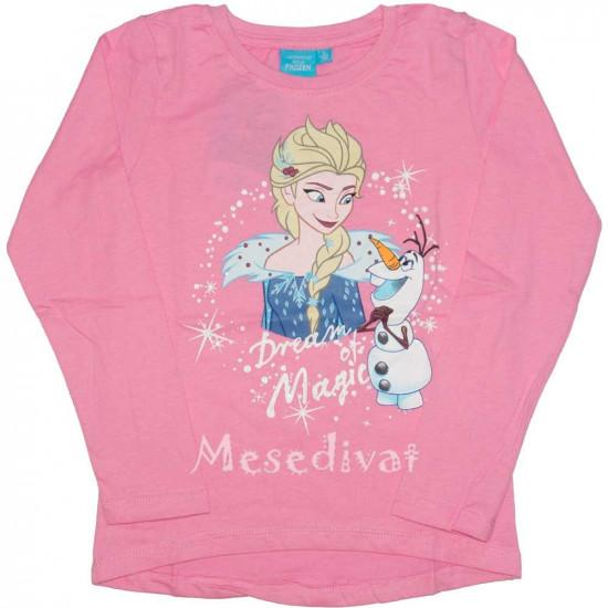 Jégvarázs hosszúujjú póló Elsa Olaf rózsaszín