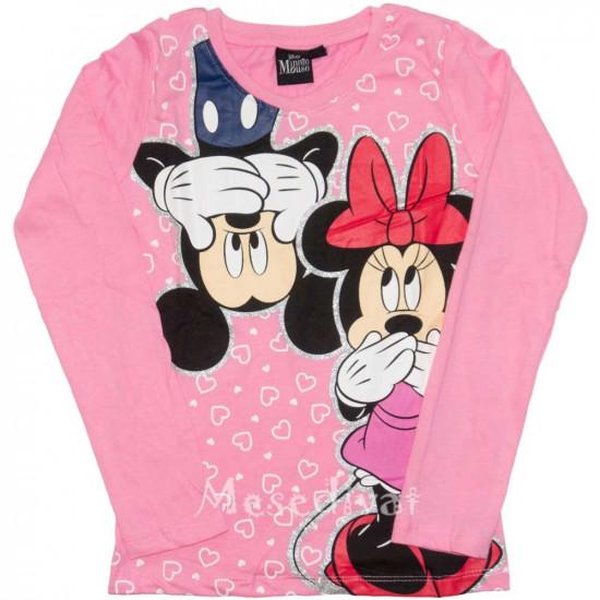 Minnie és Mickey Egeres hosszúujjú póló rózsaszín