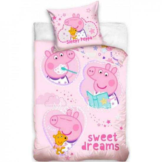Peppa Pig gyerek ágyneműhuzat rózsaszín