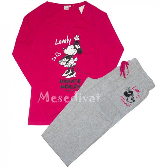 Minnie Egeres női pizsama pink szürke