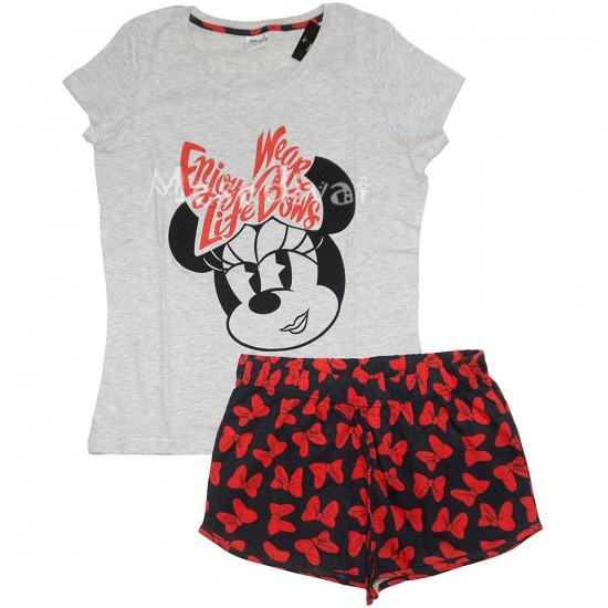 Minnies felnőtt női nyári pizsama szürke fekete