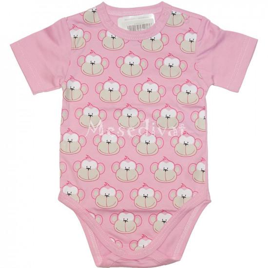 Majmos pamut baba body rózsaszín