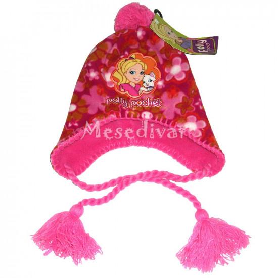 Polly Pocket polár sapka rózsaszín bojttal