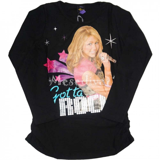 Hannah Montana tunika fazonú hosszúujjú felső fekete