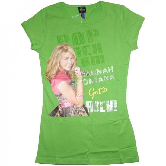 Hannah Montana pamut rövidujjú póló, tunika fazon, zöld